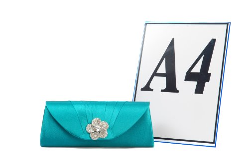Vivid Handbags - Cartera de mano de satén para mujer verde verde One Size