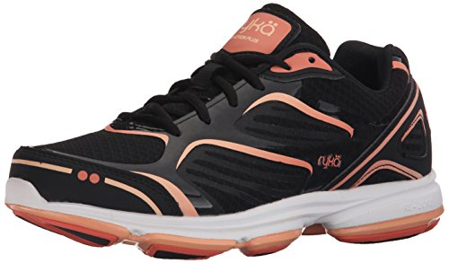 Ryka Womens Devotion Plus Walking Shoe Black/Fusion Coral/Peach Nectar