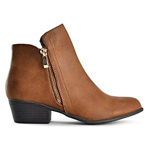 LUSTHAVE Riley Women's Chelsea Round Toe Western Cowgirl Low Heel Closed Toe Casual Ankle Bootie Tan 8