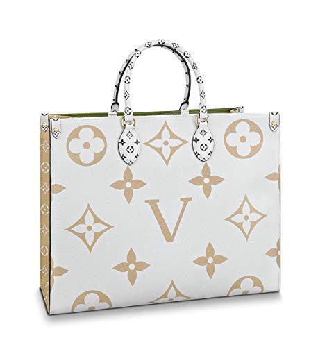 2019 Most Desired Colorful Handbag ONTHEGO handle Genuine Giant Monogram Leather Creme M44571 Khaki Green/White ()
