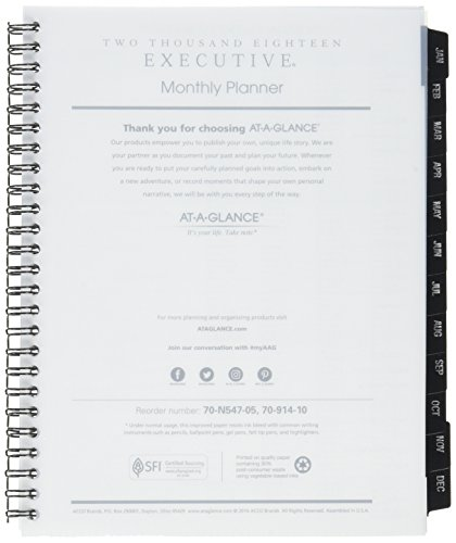 A-glance Executive Monthly Planner - AT-A-GLANCE Monthly Planner Refill, January 2018 - December 2018, 6-5/8