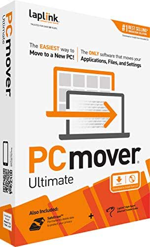 Laplink Software PCmover Ultimate 11 | Moves Your Applications, Files and Settings from an Old PC To a New PC. | Includes Ethernet Cable | 1 Use