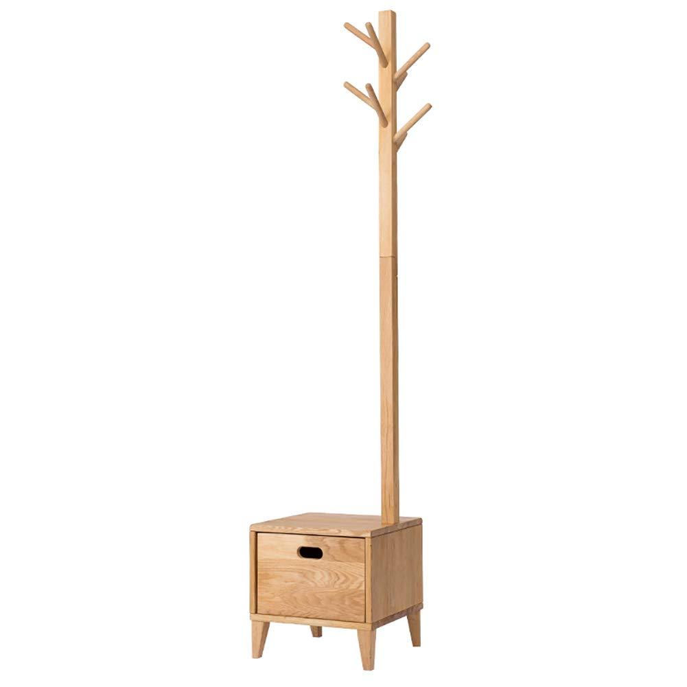 JI BIN-YJ コートラック、ソリッドウッドフロアスタンドハンガー、ホールベッドルーム引き出し収納ボックスハンガー、靴ベンチ付き35x35x170cm * (色 : 木の色) B07MLPMLHZ 木の色