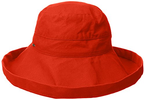 Scala Women's Cotton Hat with Inner Drawstring and Upf 50+ Rating,Poppy2,One Size ()