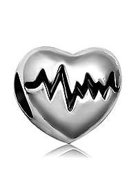 JMQJewelry Heart Electrocardiogram Heartbea New Charms For Bracelets