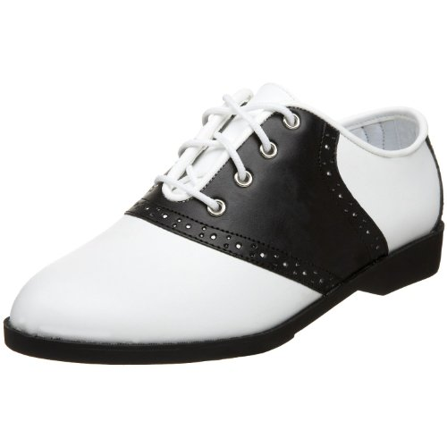 Pleaser Saddle-50 Black White Size 8 Ladies Saddle Shoes -