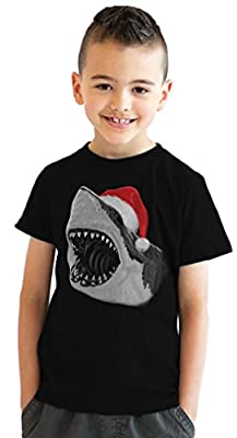 Youth Santa Jaws Funny Holiday Shark Christmas T shirt for Kids (Black)