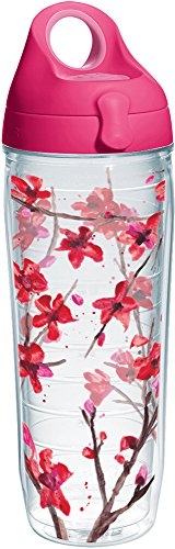 Springtime Wrap - Tervis 1237837 Springtime Blossom Tumbler with Wrap and Passion Pink Lid 24oz Water Bottle, Clear