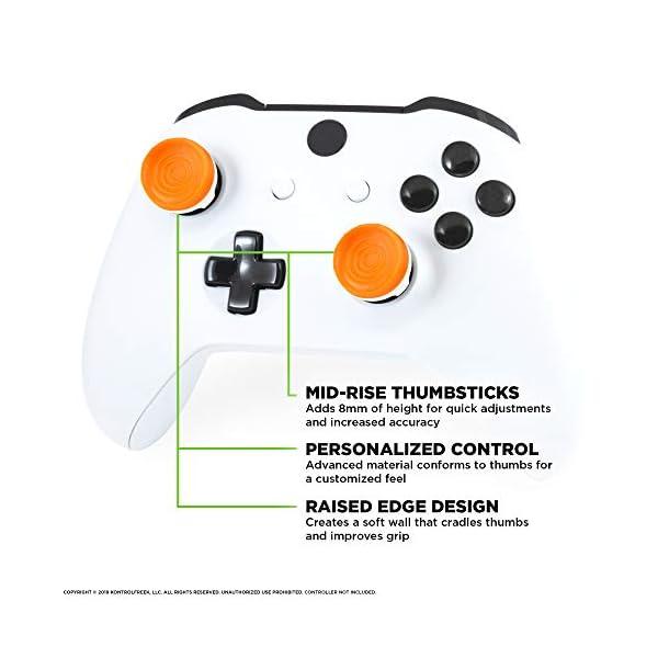 KontrolFreek Rush Performance Thumbsticks for Xbox One | Performance Thumbsticks | 2 Mid-Rise, Concave | Orange/White 2