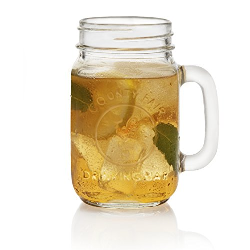 Libbey County Fair 16.5-Ounce Drinking Jar with Handle, Set of 12 - County Mug