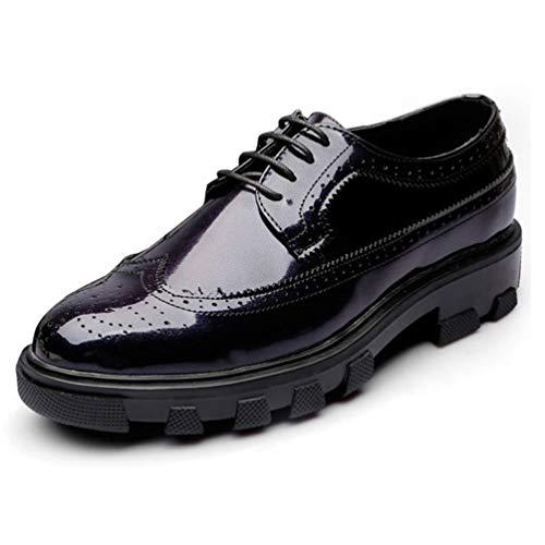 Scarpe da Uomo in Pelle della Scarpa Suola Spessa Pizzo Resistente a piacimento di Usura Confortevole Mercato Blu Scuro