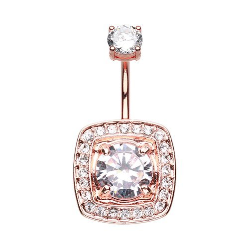 WildKlass Jewelry Rose Gold Grand Essentia 316L Surgical Steel Belly Button Ring