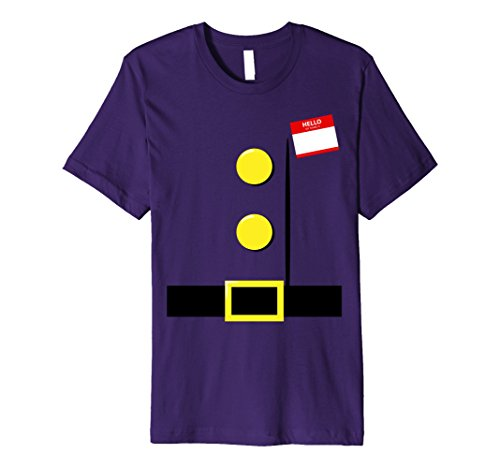 Halloween Costumes Idea Men (Mens Dwarf Halloween Group Costume Idea T-Shirt with Name Plaque XL Purple)