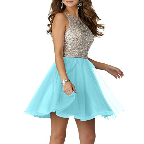 Back Tulle Gowns Prom Homecoming Short 2018 Open Ladsen Dresses Blue Light Beading wCYnq0