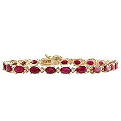 Y/Gold Red Ruby and Diamonds Tennis Bracelet