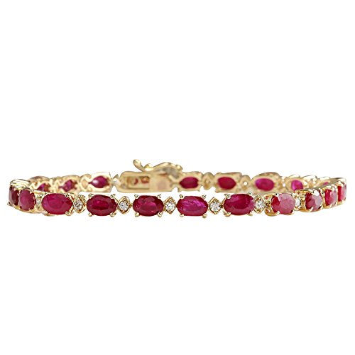 11.95 Carat Natural Red Ruby and Diamond (F-G Color, VS1-VS2 Clarity) 14K Yellow Gold Tennis Bracelet for Women Exclusively Handcrafted in USA