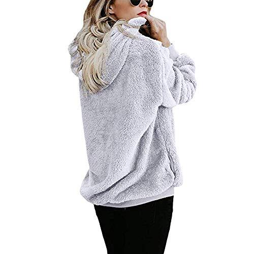 Mode La Laine Chaud Hiver Dames Pull Manteau Capuche Glissière De Coton Outwear Tops Casual Femmes Longues Asymétrique Solide Fermeture Blanc À Manches Pour Poches ZawqEt