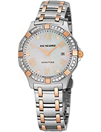 Saratoga Womens Two-Tone Real Diamond Watch - 31mm Mother of Pearl Face with Second