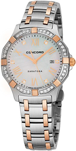 - Concord Saratoga Womens Two-Tone Real Diamond Watch - 31mm Mother of Pearl Face with Second Hand Stainless Steel and Rose Gold Ladies Watch - Durable Metal Band Luxury Watches for Women 0320169