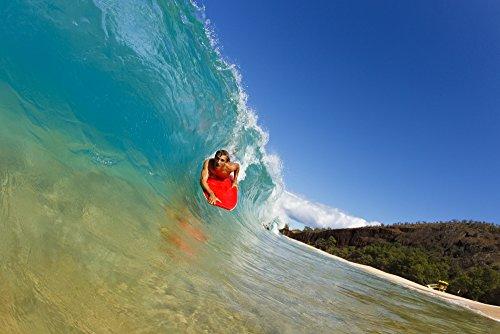 Posterazzi DPI1966212LARGE Hawaii Maui Makena - Big Beach Young Man Boogie Boarding On Beautiful Wave. Poster Print 34 x 22 (Best Boogie Boarding Maui)