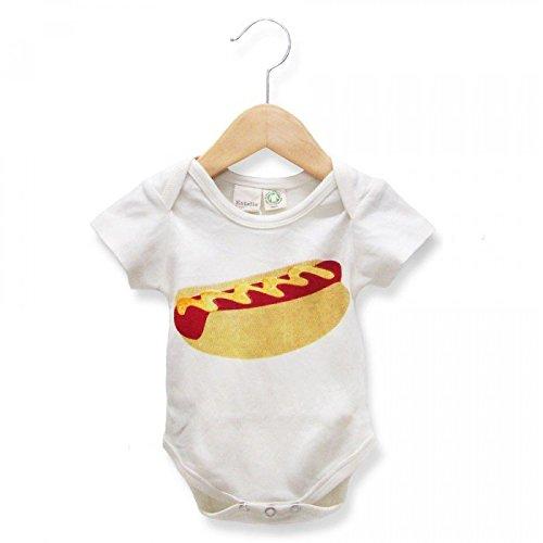Estella Unisex Short Sleeve Hand Knit Soft Organic Cotton Baby Bodysuit Onesie Romper, Hot Dog, 12 - 18 Months