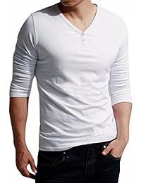"<span class=""a-offscreen"">[Sponsored]</span>Men V Neck Long Sleeve Solid Casual Long Sleeve Button Tops Blouse T-Shirt"