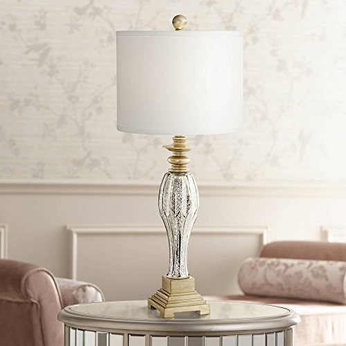 - Tyson Traditional Table Lamp Mercury Glass and Light Gold Base White Drum Shade for Living Room Family Bedroom Bedside - Regency Hill
