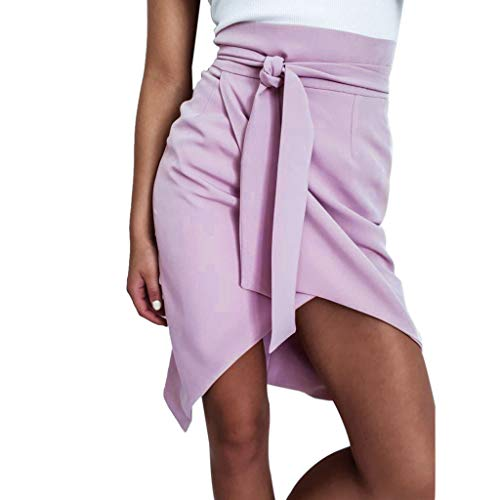 (Colmkley Women's Bandage Bow High Waist Asymmetrical High Low Short Mini Skirt Purple)