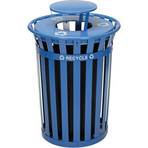 Global Industrial Outdoor Steel Recycling Receptacle with Rain Bonnet Lid - 36 Gallon Blue