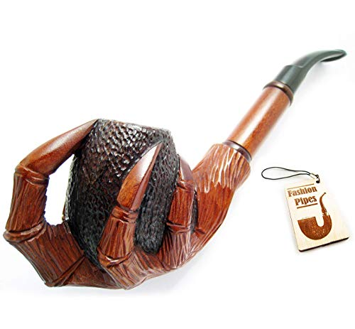 (Churchwarden Tobacco Smoking Pipe Carved Pear Root Wood Exclusive Dragon Claws & Pouch Gift (2))