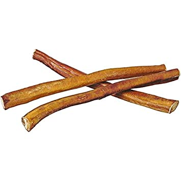 Pawstruck 12 Straight Bully Sticks for Dogs or Puppies All Natural Odorless Bully Bones Grass-Fed Beef Medium Thickness Long Lasting Dog Chew Dental Pizzle Treats Best Thick Bullie Stix