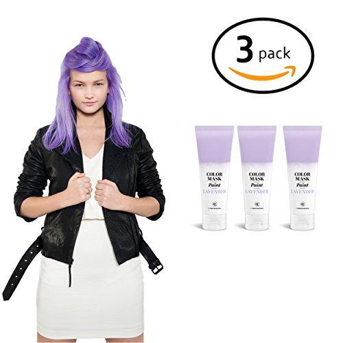 Pastel Lavender Semi-Permanent Hair Color Cream (3 Pack) - Color Mask Paint - Direct Hair Dye 2.55 oz
