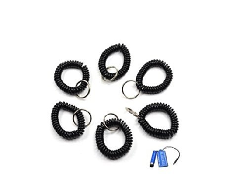 BLUECELL Pack of 6 Plastic Wrist Coil Wrist band Key Ring chain for Outdoor Sport (Black)