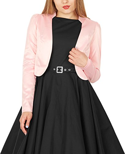 BlackButterfly Formal Satin Long Sleeve Bolero Shrug (Pink, US 10) ()