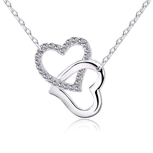 (Tarsus Silver Double Heart Pendant Necklace for Women Forever Love Jewelrys Girls Girlfriends Wife Gift Diamond Jewelry Nickel Free Dainty Style Adjustable Clasp Chain 16