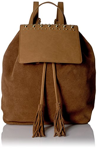 The Fix Avery Studded Top Flap Suede Backpack, Havana Tan (Suede Flap Studded)