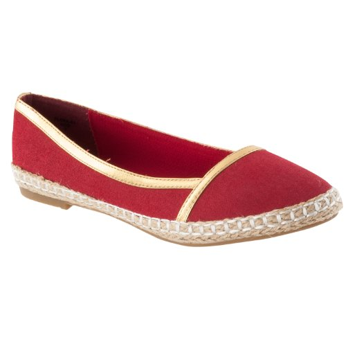 Pinky Womens Flora Microsuede Casual Flats, Beige Rood