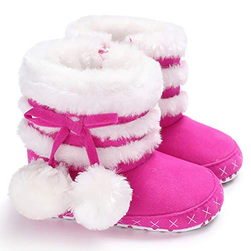 Cindear Infant Crib Shoes Newborn Baby Girl Poms Plush Winter Snow Boots 1013 Hot Pink 0-6 -