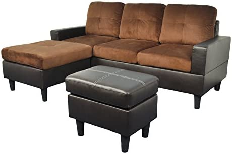 Groovy Beverly Furniture Beverly Brown Contemporary 3Piece Fabric Sectional Sofa Set Reversible Chaise With Free Ottoman Lamtechconsult Wood Chair Design Ideas Lamtechconsultcom