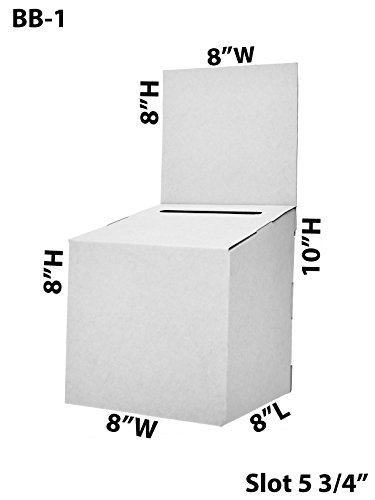 Marketing Holders Lot of 25 Large Cardboard Suggestion Donation Ballot Box 8'' x 8'' x 8'' by Marketing Holders
