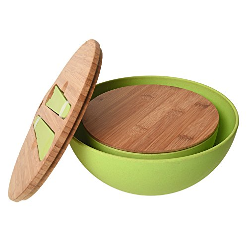 Bamboo Salad Bowl Bamboo-Fiber Bowl Set with Lids & Inset Utensils – Lids Double As Cutting Boards – Smaller Bowl Nests Perfectly Inside Larger for Easy (Fiesta Round Chip Dip Tray)