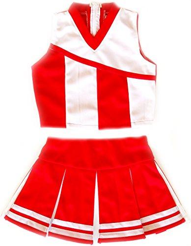 Girls' Cheerleader Cheerleading Outfit Uniform Costume Cosplay Red/White (M / 5-8) ()