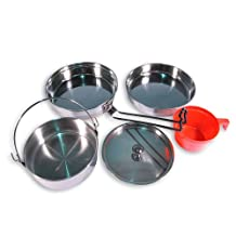 Military 1 Person Lightweight Portable CAMPING COOK SET - Stainless Steel Outdoor Cookwear Cooking Kit