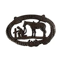 dist by American mud products Heavy Large Cast Iron Kneeling Cowboy with Horse at Cross, 2 Holes for Hanging, Primitive Style Wall Sign