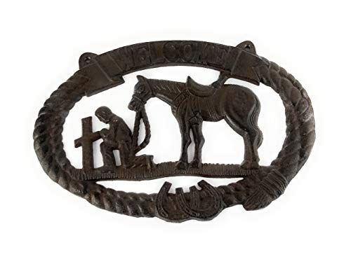 (dist by American mud products Heavy Large Cast Iron Kneeling Cowboy with Horse at Cross, 2 Holes for Hanging, Primitive Style Wall Sign)