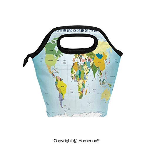 Insulated Neoprene Soft Lunch Bag Tote Handbag lunchbox,3d prited with World Map with Countries and Capital Cities of the Earth with Oceans and Lakes Graphic Art,For School work Office Kids Lunch Box ()
