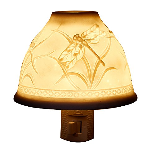 KUOYE Night Light Plug in Porcelain Wall Night Light Essential Oil Aromatherapy Furnace Incandescent Bulb Suit Bedroom Living Room Hallway (Dragonfly)