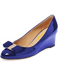 Women Elegant High Wedge Heels Pumps Closed Toe Comfort...