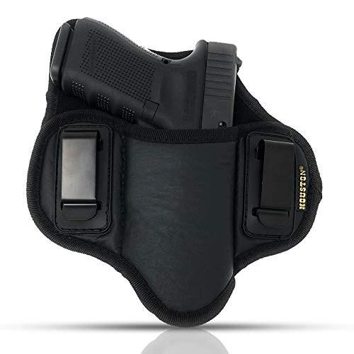 Tactical Pancake Gun Holster Houston - ECO Leather Concealed Carry Soft Material | Suede Interior for Protection | IWB | Right Hand | Fit: Glock 19 17 20 21 22 - Concealment Pancake Pistol Holster