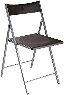 Versa 19840061 Silla Plegable Negra Belfort, 93,5x48x56,5cm, Metal ...